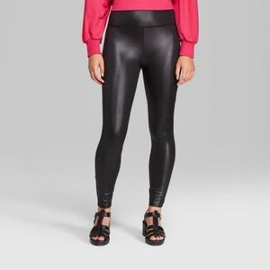 Women's Faux Leather High-Rise Leggings - Wild Fab